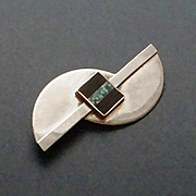 REDUCED Large Modernist Sterling Opal Chip  Onyx Inlay Pin Brooch Great Falls Metal Works