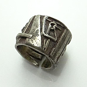 SALE PENDING Rare Vintage Modernist Mary Ann Scherr Sterling Silver Ring Band
