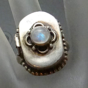 REDUCED Vintage Sterling Silver Labradorite Poison Ring