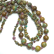 REDUCED Chunky Jay King Green Turquoise 3 Strand Necklace