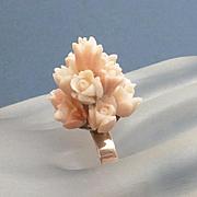 Antique 14k Gold Carved Angel Skin Coral Flower Ring