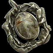 Unique Sterling Silver Gray Crazy Lace Agate Pendant