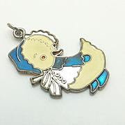 Vintage Sterling Silver Blue Enamel Duck Charm Too Cute