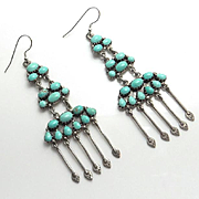 Long Vintage Sterling Silver Turquoise Indian Drop Earrings