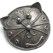 Vintage Sterling Silver Cat Face Pin Big and Unique