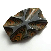 Vintage Psychedelic Carved  Laminated Bakelite Pin