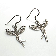 Vintage Sterling Silver Nude Fairy Earrings