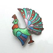 Vintage Colorful Siam Sterling Enamel Bird Pin