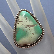 Bold Large Face Indian Green Turquoise Sterling Silver Ring Size 6