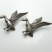 Vintage Sterling Silver Danecraft Bird Duck Goose Pin Set Figural