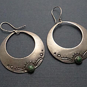 Vintage Sterling Silver Sand Cast Indian Stamped Dangle Hoop Earrings