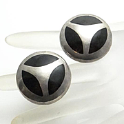 Large Mexican Taxco Black Onyx Sterling Silver Clip On Earrings