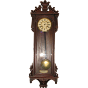 """SOLD Large Ansonia Hanging Wall Clock """"Prompt"""""""