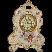 SALE PENDING Ansonia Royal Bonn Porcelain Case China Clock