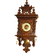 SOLD Large German Carved Free Swinger Wall Clock