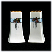 Hand Painted Porcelain Salt and Pepper Shakers Signed Cecil Vintage Flowers Blue