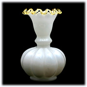 Fenton Melon Vase Gold Crest Milk Glass Crimped Art Glass