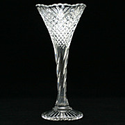 EAPG Pineapple and Fan Trumpet Vase Antique Pressed Glass Adams and Company