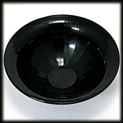 Ebony Black Elegant Glass Bowl Vintage 1930s American Paneled