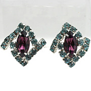 Stylish Amethyst and Baby Blue Rhinestone Earrings