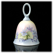 SALE A Jean Original Hand Painted Porcelain Bell Blue Yellow Flowers