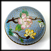 SALE Blue Cloisonne Trinket Jar with Pink Yellow Flowers.
