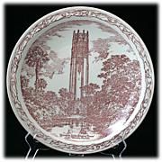 SALE Vernon Kilns Mountain Lake Singing Tower  Souvenir Commemorative Plate Vintage Red