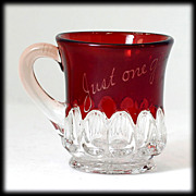 EAPG Ruby Stained Glass Mug Just One Girl 1906 Arched Ovals Souvenir Antique