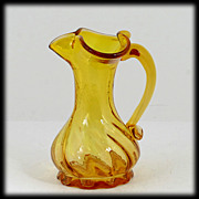 "SALE Vintage Jonquil Yellow Hand Blown Art Glass Small Pitcher 5"" Spiral"