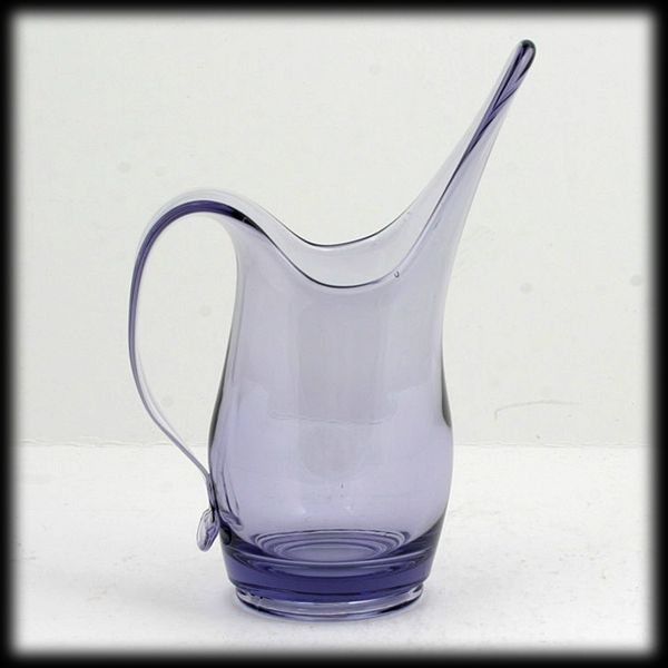 Viking Art Glass Teaberry Epic Pitcher Swung Vintage Mid Century Modern