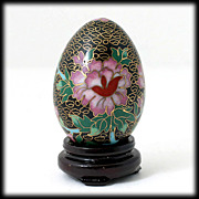Vintage Black Cloisonne Egg with Stand Pink Flowers Butterflies Enamel decor