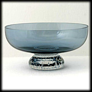 SALE PENDING Scandinavian Blue Art glass Bowl Crystal Controlled Bubble Base