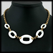 SALE Monet Modernist White Hoop and Gold Chain Necklace