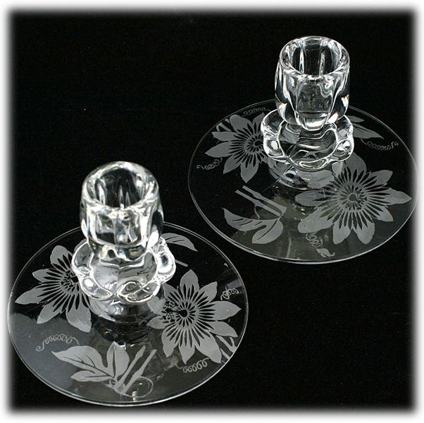 Duncan and Miller Passion Flower Etched Elegant Glass Candle Holders Vintage