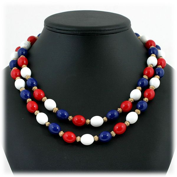 Crown Trifari Patriotic Necklace Red White Blue Beads Double Strand