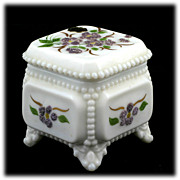 SALE Westmoreland Milk Glass Trinket Box Beaded Bouquet Purple Flowers Original Label
