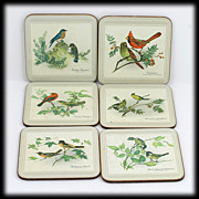 SALE Pimpernel Cork Coasters Songbird Collection Box Set 6 Vintage