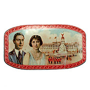 SALE Vintage Toffee Tin King George VI 1937 Portrait Palace Queen Mum Lithograph