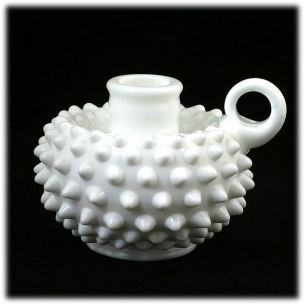 Fenton Milk Glass Hobnail Candle Holder 3870 MI Vintage 1960s