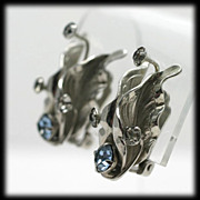 Art Nouveau Style Silvertone Flower Earrings with Blue Rhinestones