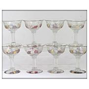 Westmoreland Della Robbia Champagne Glasses Sherbets Set 8 Vintage Flashed Glass