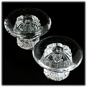 Pair MCM Mushroom Paperweights Crystal Art Glass Vintage Decor