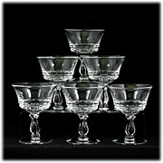 Fostoria Century Elegant Glass Liquor Cocktail Glasses Set 6 Vintage Crystal