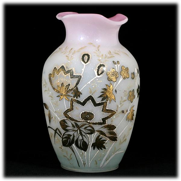 Victorian Bohemian Bristol Glass Vase Pink White Enameled Large Antique Decor