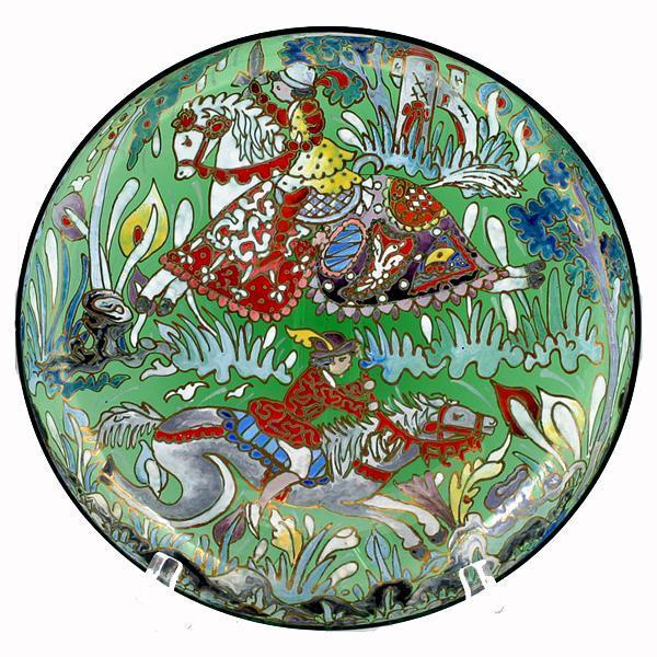 Spanish Art Glass Enameled Green Platter Tray Fairytale Prince Castle