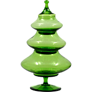 SOLD Empoli Italian Green Glass Christmas Tree Candy Jar Vintage Art Glass