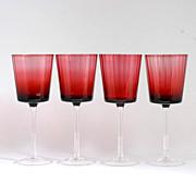 Ruby Red Crystal Wine Glasses Set of 4 Vintage Panel Optic Goblets Cranberry