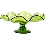 Blenko Art Glass Green Compote Vintage Hand Blown Bowl American