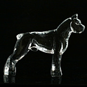"Kosta Boda Zoo Figurine Boxer Dog Crystal Art Glass Scandinavian 5"""