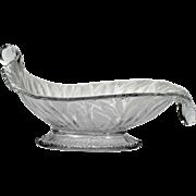 Fenton Art Glass San Toy Cornucopia Console Bowl Satin Crystal